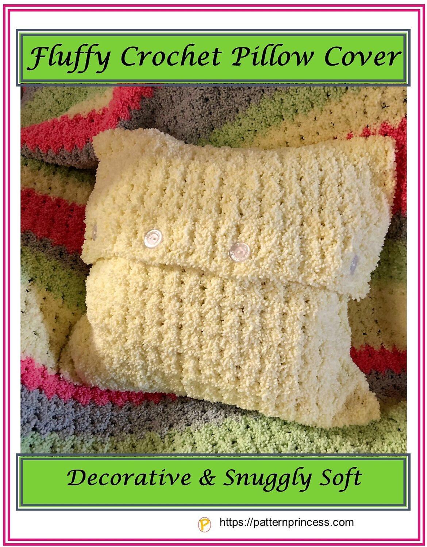 Fluffy Crochet Pillow Cover