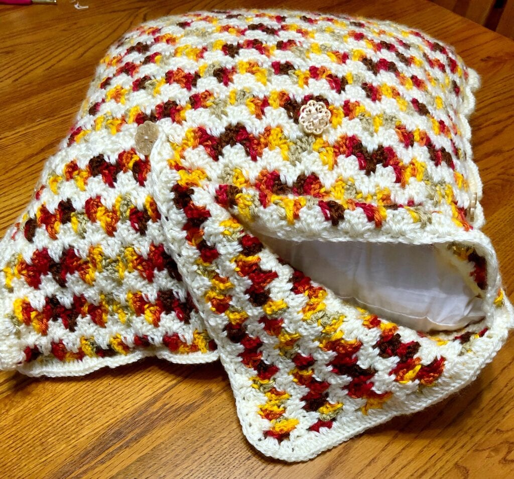 Embrace Autumn Crochet Pillow Cover with the Top Flap Turned Down