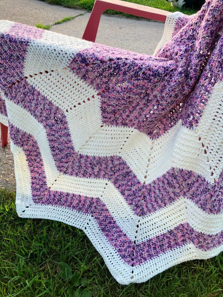 Round Chevron Blanket on Lawn Chair