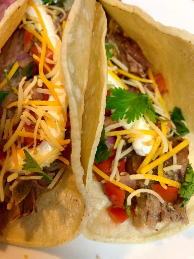Two Pork Carnitas in Soft Shell Tacos Shells