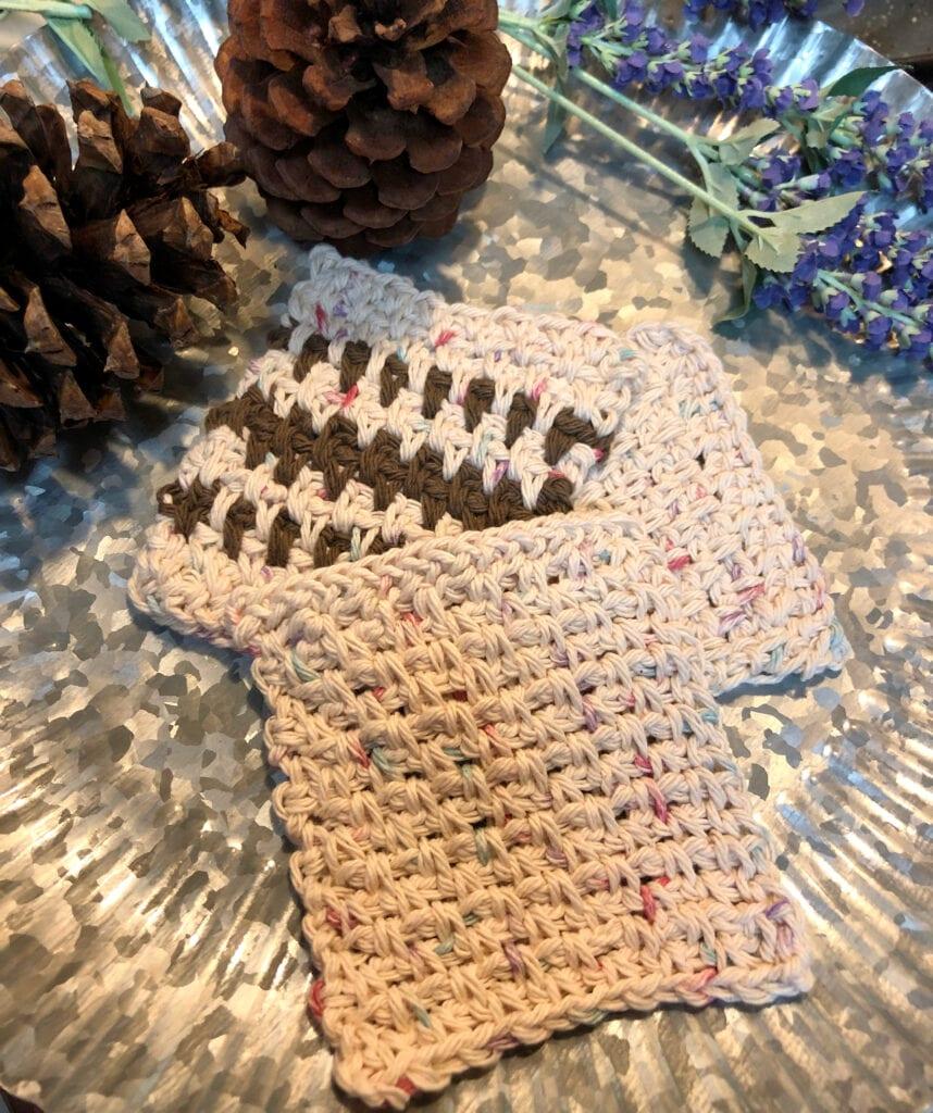 Earth Tone Crochet Coasters Displayed