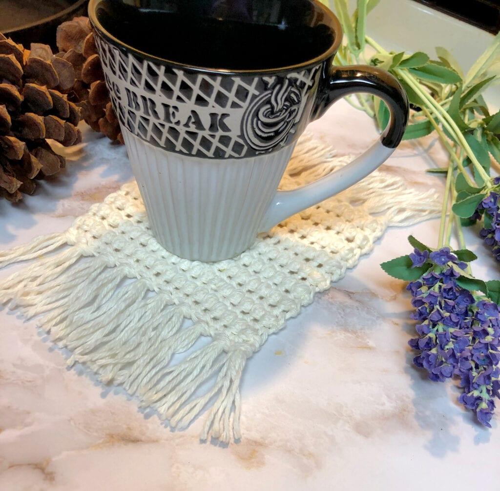 Modern Chic Crochet Coaster with Fringe
