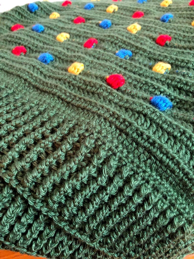 Crochet Ribbed Border on Holiday Blanket