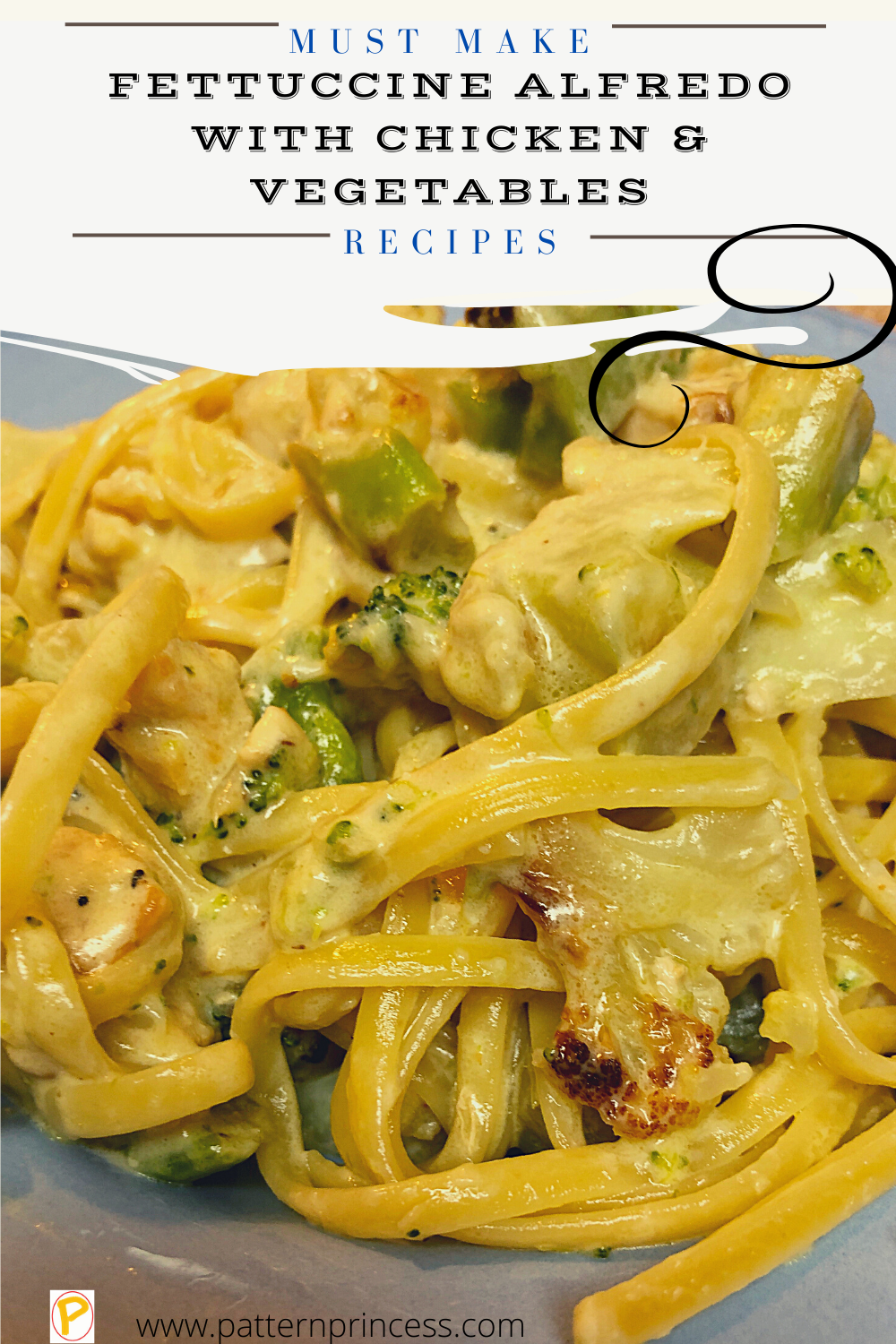 Fettuccine Alfredo with Chicken and Vegetables