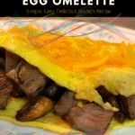 Steak, Cheese, and Mushroom Egg Omelette