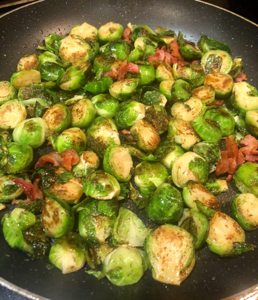 Sautéing Brussels Sprouts and Bacon