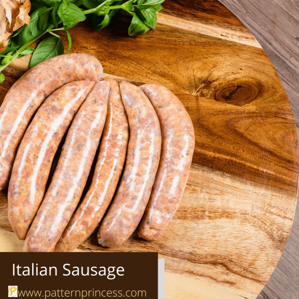 Italian Sausage displayed on a cutting board