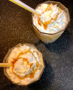 Dessert Mocktail with Caramel Sauce Drizzled on Top