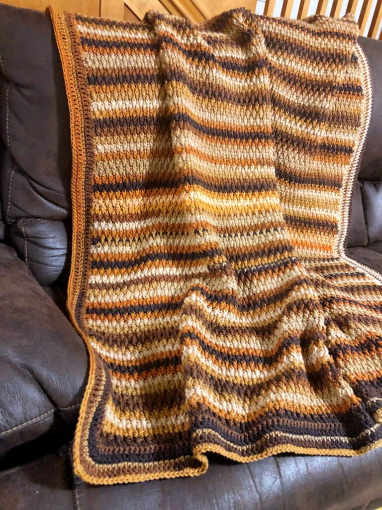 Textured Crochet Blanket in Brown and Tan