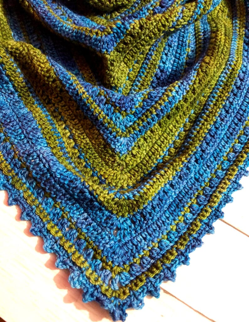Close up of the Crochet Triangle Shawl