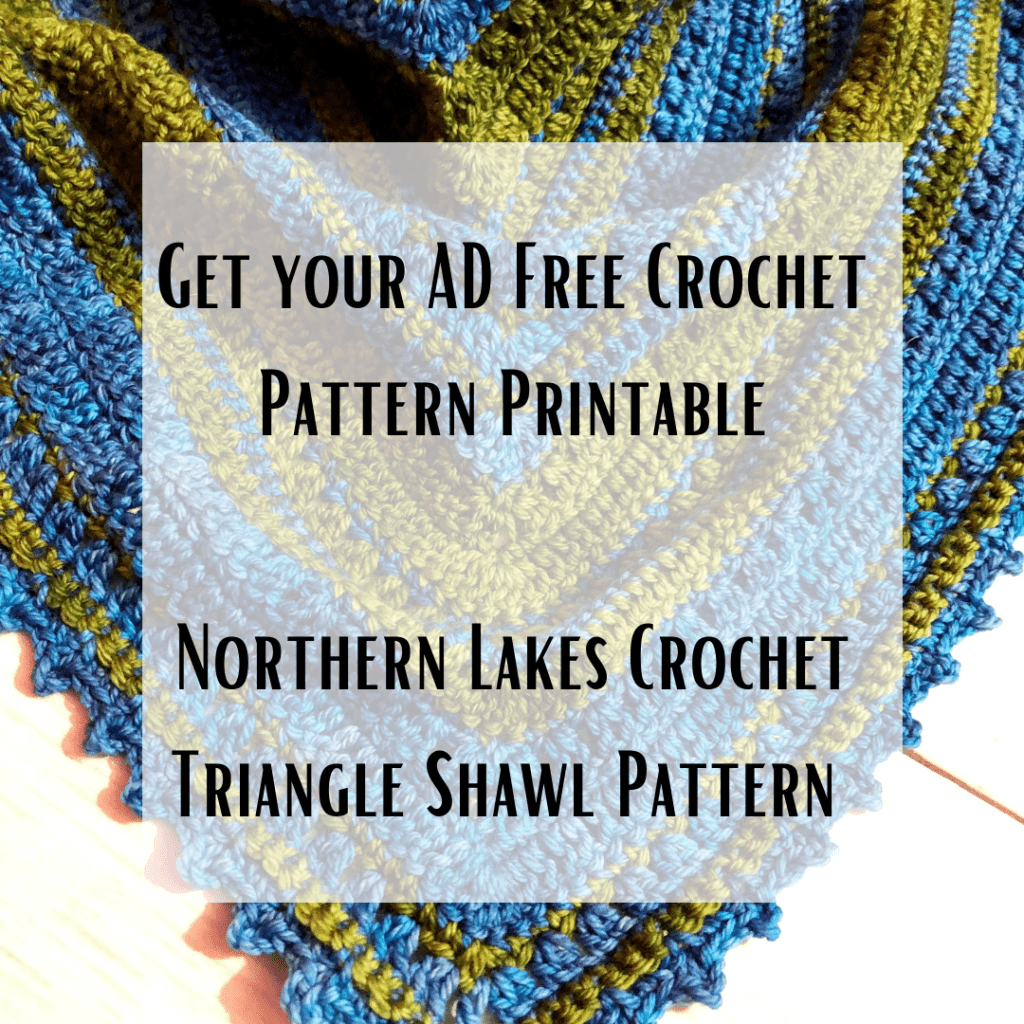Northern Lakes Crochet Triangle Shawl Printable Pattern