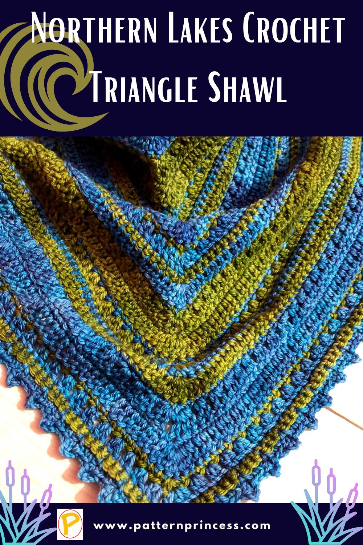 Northern Lakes Crochet Triangle Shawl