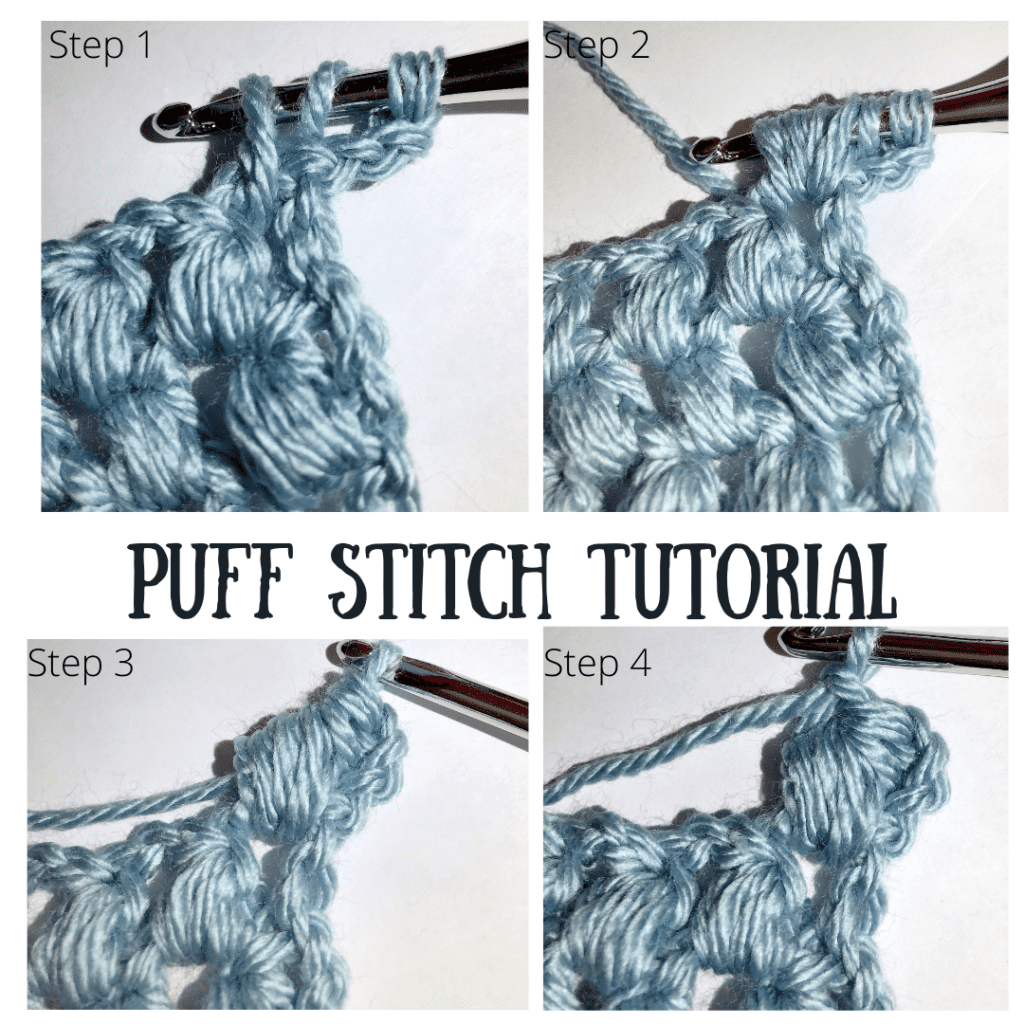 Puff Stitch Tutorial Showing First Four Steps