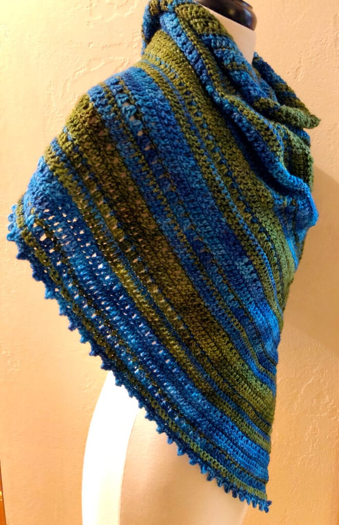 Side View of the Northern Lakes Triangle Shawl