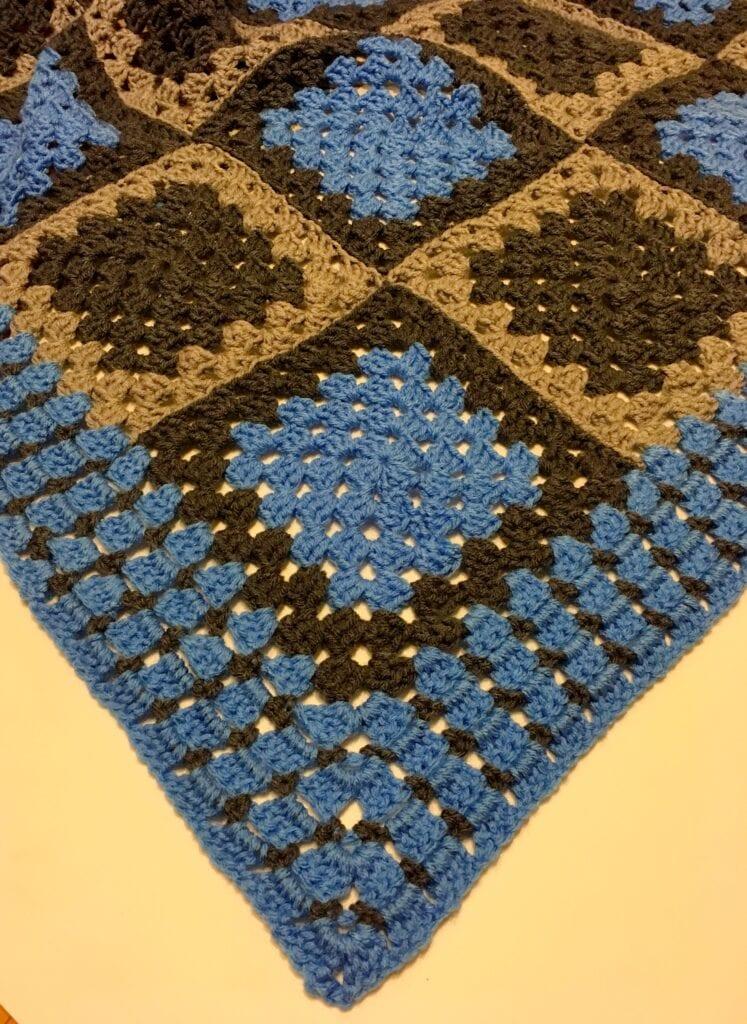 Blue Corner on Skipping Pebbles Blanket