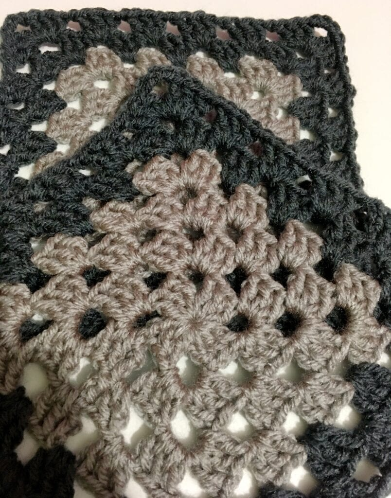 Dusty Grey and Charcoal Grey Granny Square