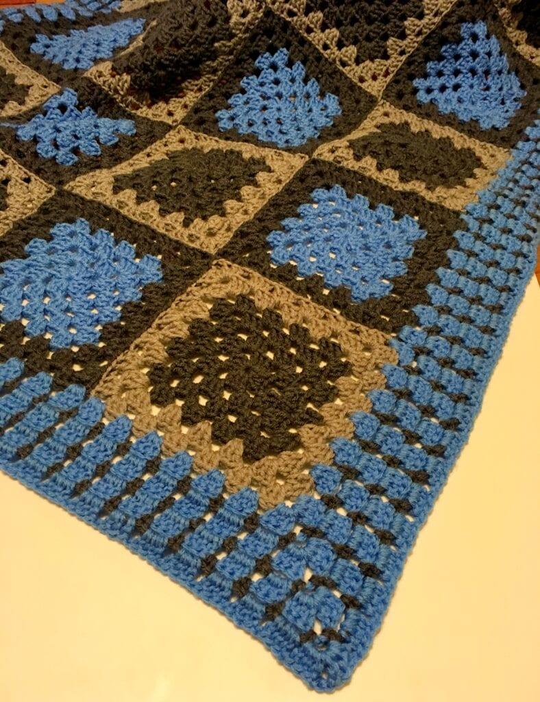 Grey Corner on blue Granny Square Blanket