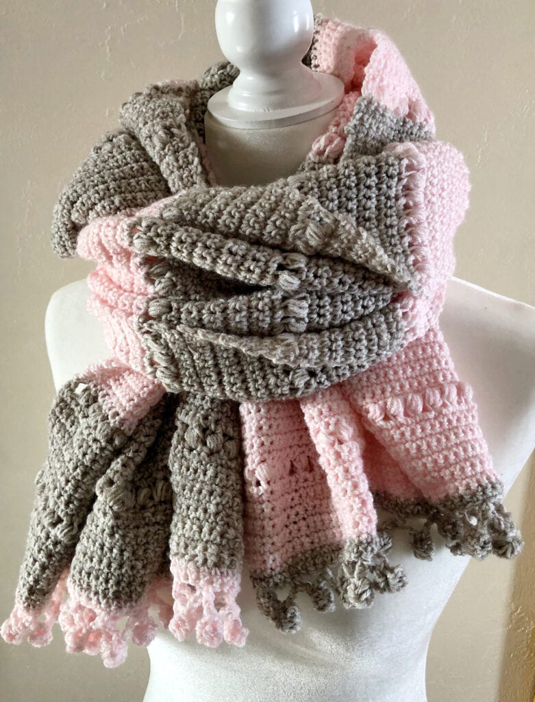 Crochet Wrap Worn Close to the Neck as a Scarf