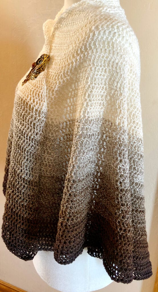 Side View of Shawl Worn as a Poncho