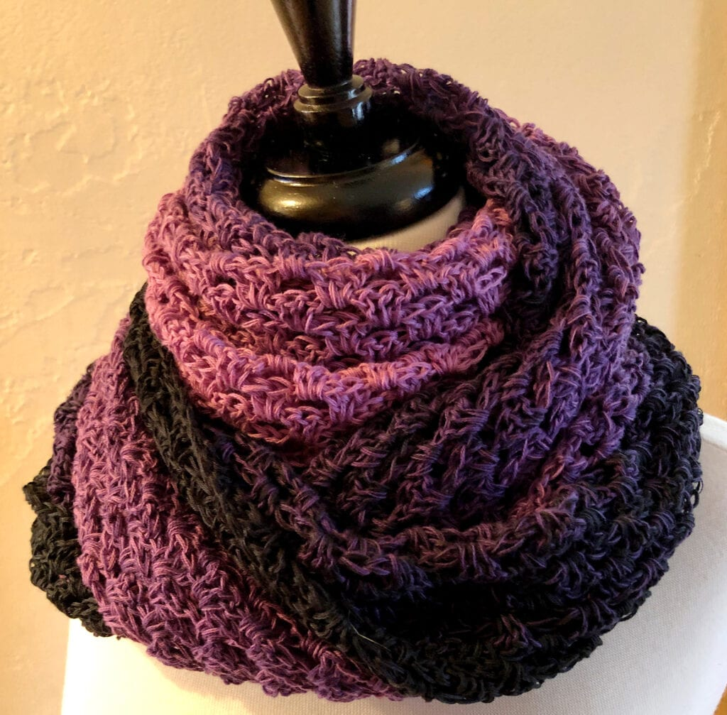 Lavender Triangle Shawl Styled as a Scarf