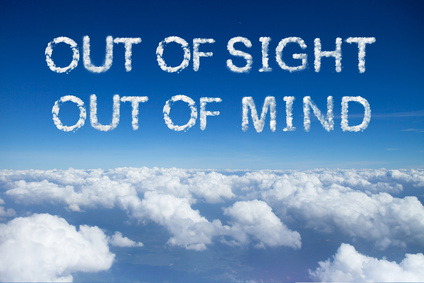 Out of sight out of mind cloud word on sky