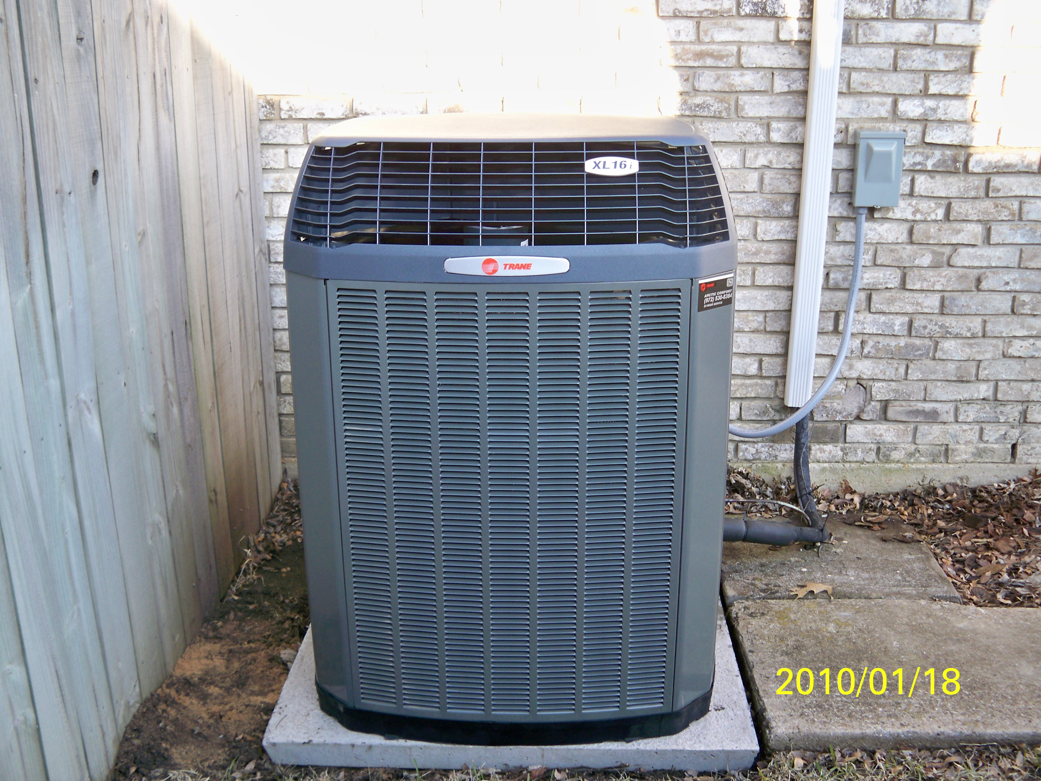 Photo of our installation of a Trane XL16i Condensing Unit