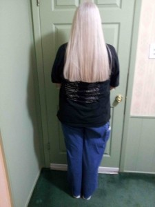 """Vicky with Arctic Comfort Air Conditioning and Heating, hair after Locks of Love 21"""" hair donation 11 2012"""