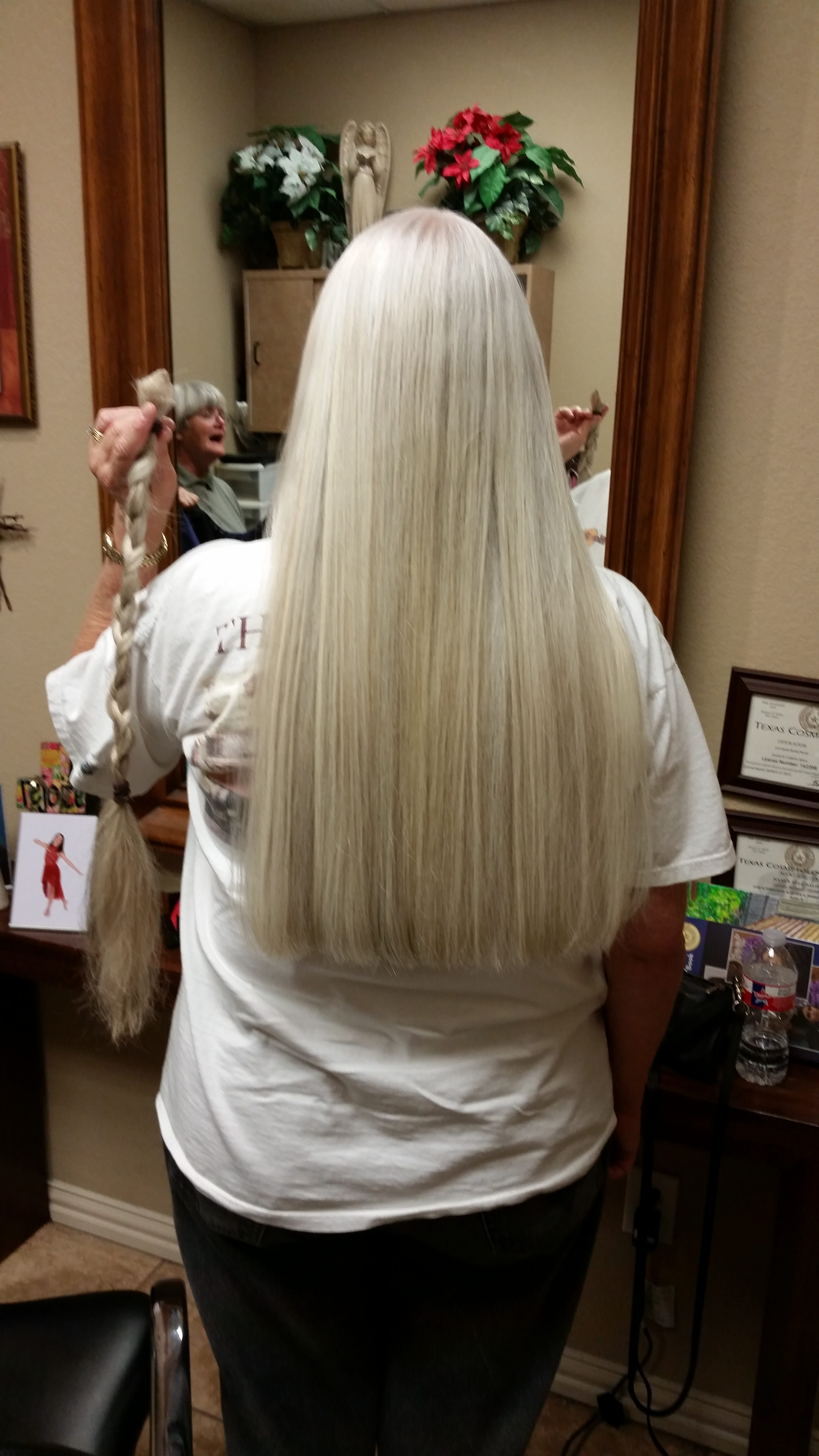 Vicky's hair after the cut for Locks of Love