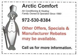 Air Conditioning & Heating Equipment, Systems Replacement, Installtion, Other offers, Specials, Mfg Rebates on AC Repairs or Air Conditioning Service.