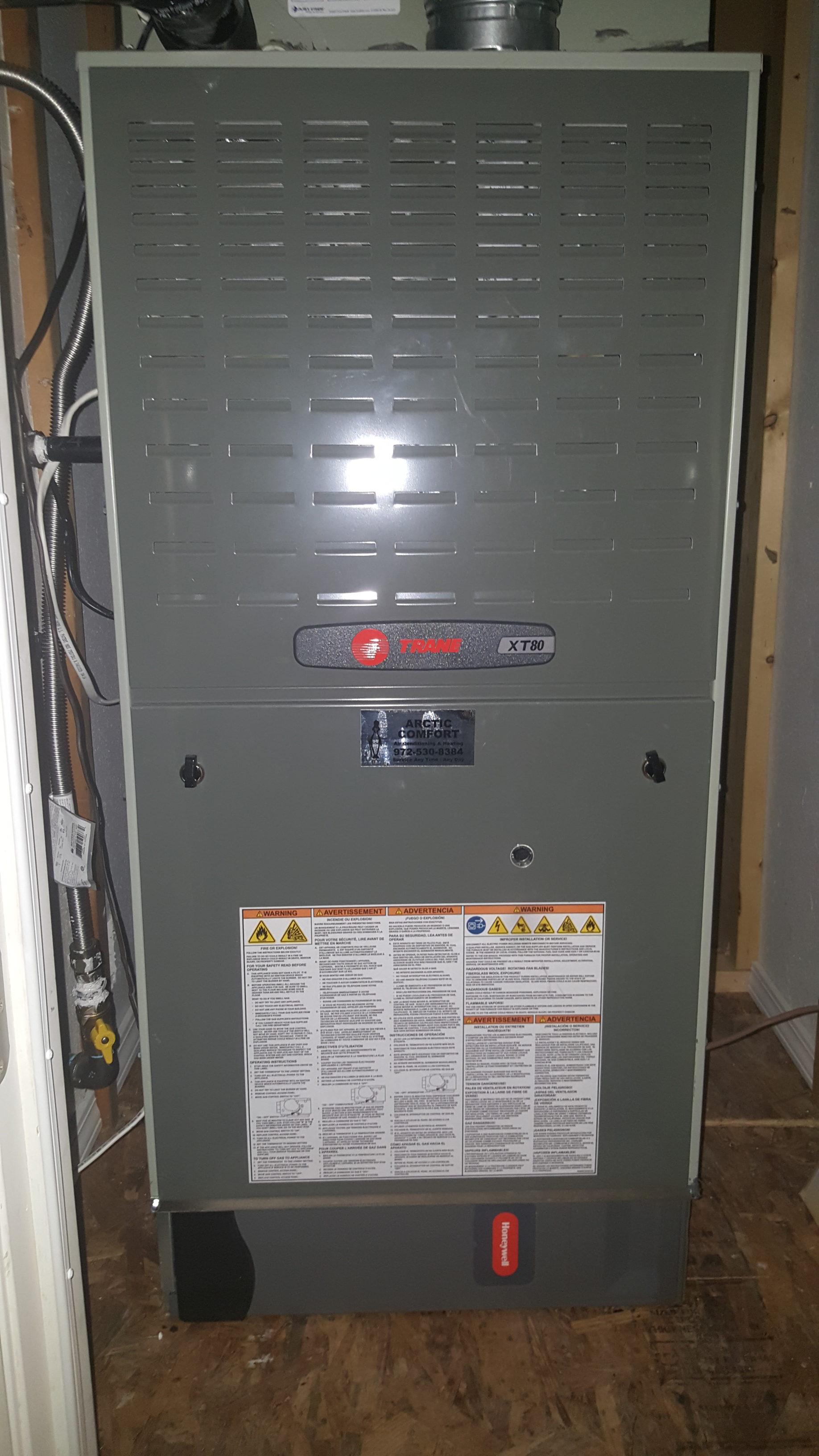 Trane XT80 Furnace and Honeywell Media Filter System
