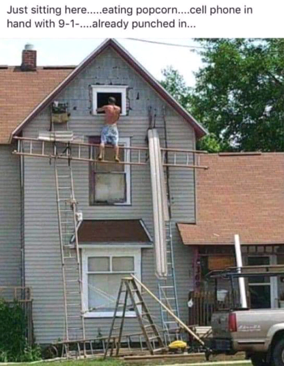 Crazy Guy on Ladders