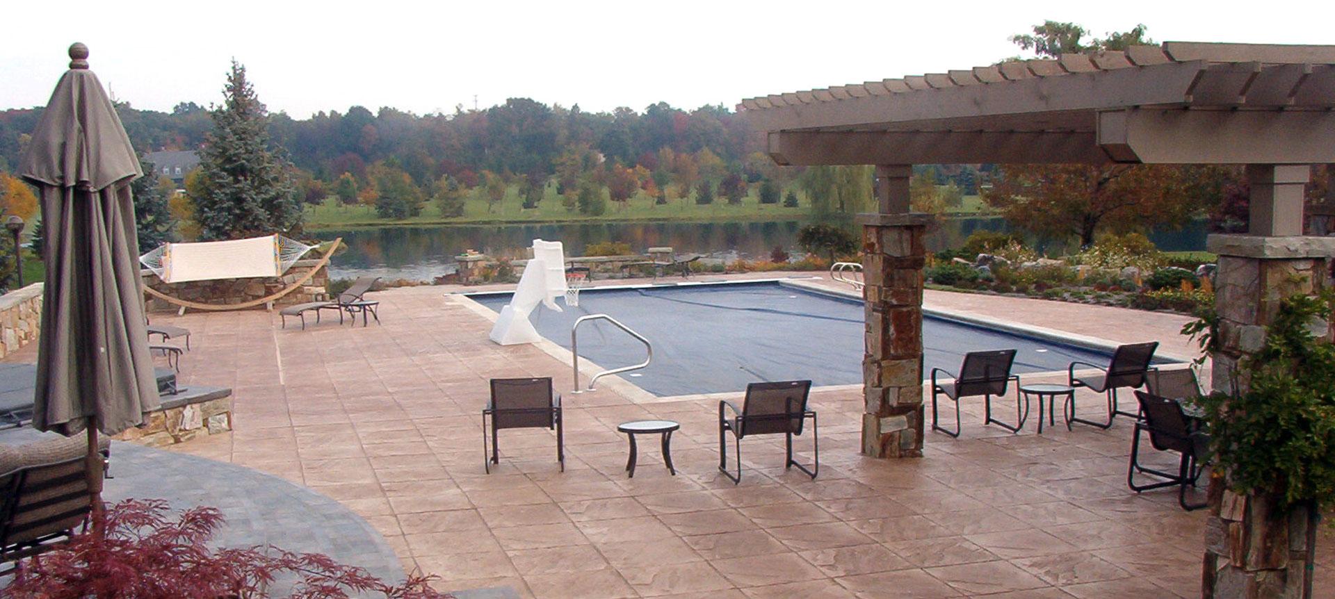 pool deck concrete pergola fort wayne