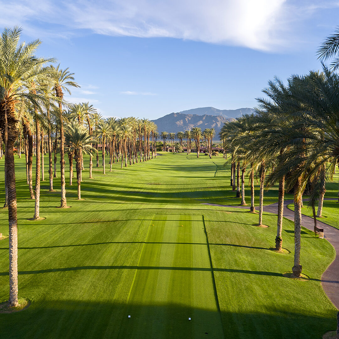 A late afternoon shot of the par 4 13th hole at The Palms Golf Club in La Quinta, California taken with an Inspire1 Pro X5.