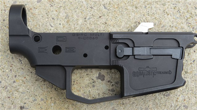 Go Ballistic Firearms 9mm Billet Stripped Lower Receiver Glock Mag W/MAG CATCH ASSEMBLY & EJECTOR