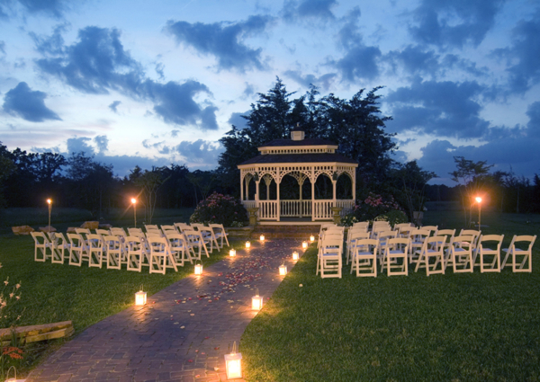 Night time Romantic Outdoor Wedding Garden Gazebo