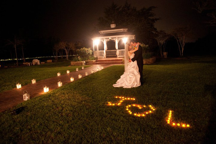 evening outdoor wedding venue portrait
