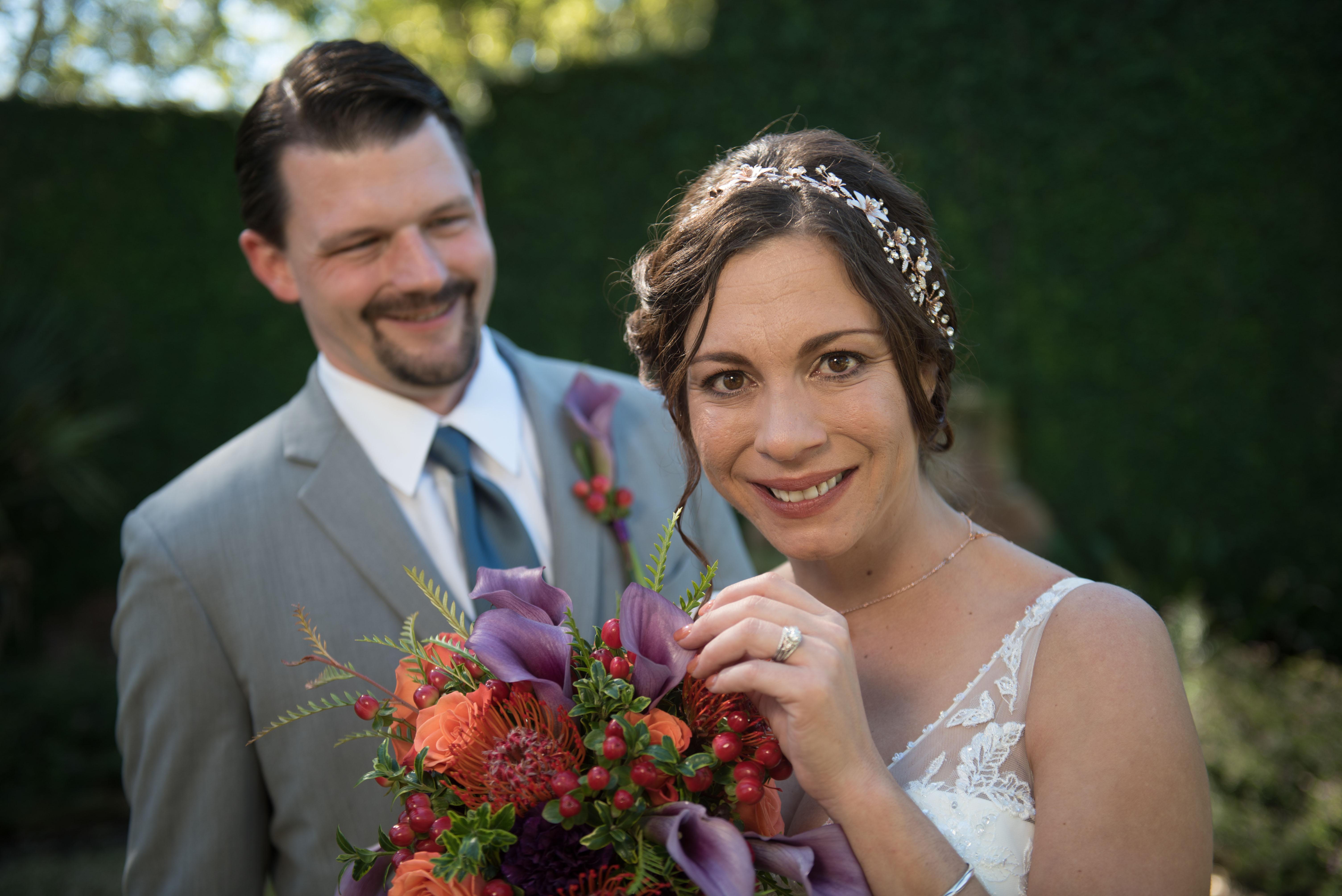 garden wedding bride groom portrait