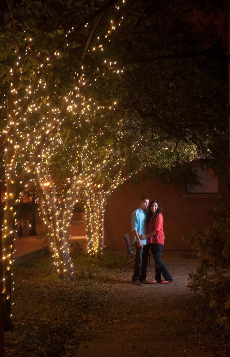 Romantic Engagement Session tree lights