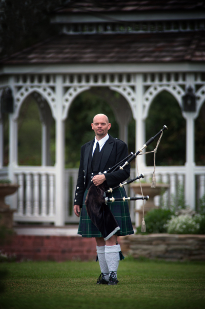 unique groom outfit kilt scottish wedding outdoor bagpipes