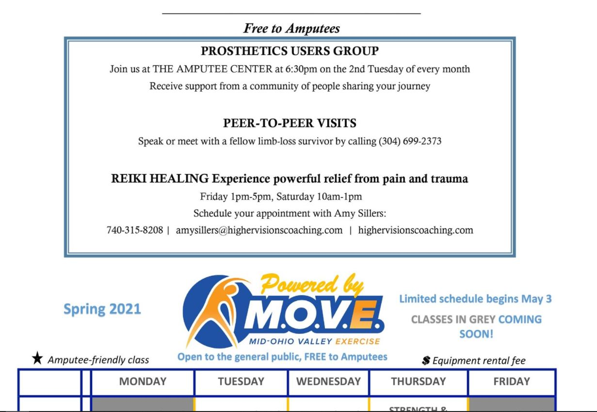 Schedule of Events and Classes for The Amputee Center Powered by MOVEfor