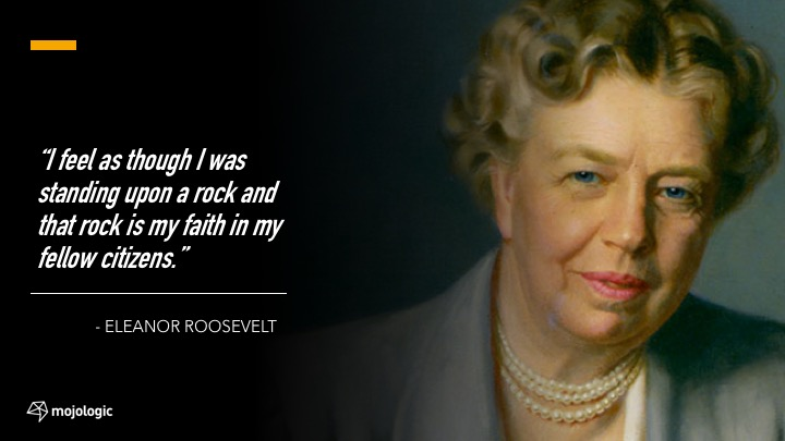 Speech 19:  Eleanor Roosevelt (we know what we have to face)