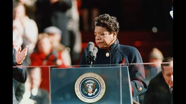 Maya Angelou speaks at Bill Clinton