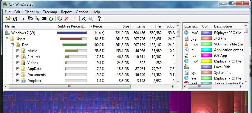 Hot PC Tips - WinDirStat Drill Down