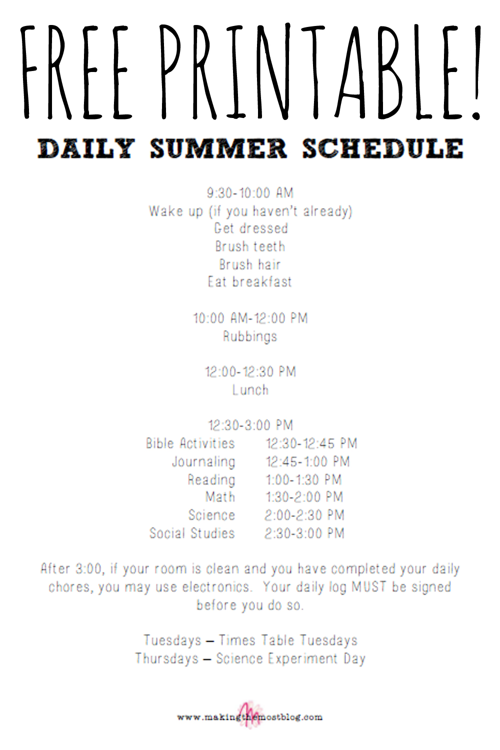 FREE! Printable Summer Schedule   Making the Most Blog