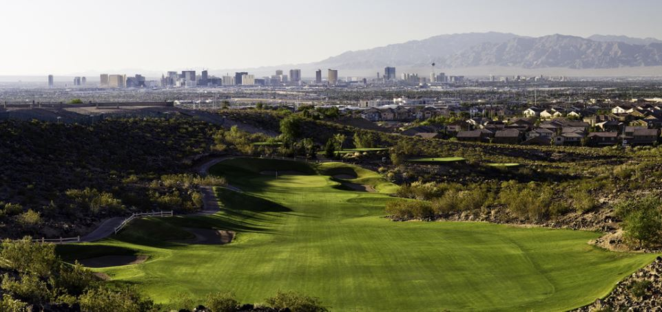 View of Las Vegas Strip from Rio Secco Golf Club Henderson Nevada