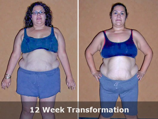 before and after front view photo of female body transformation client with significant weight loss