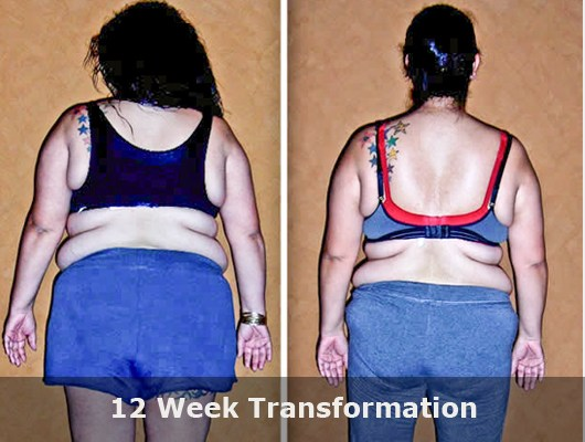 before and after back view photo of female body transformation client with significant weight loss