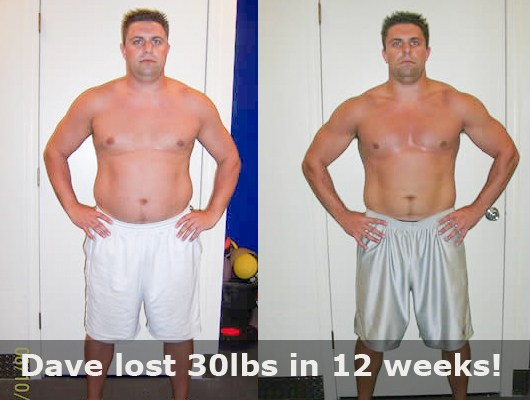 before and after front view of male body transformatin client showing a 30 pound weight loss in 12 weeks