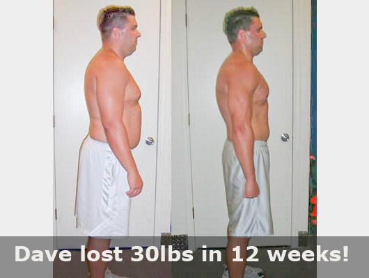 before and after side view of male body transformatin client showing a 30 pound weight loss in 12 weeks