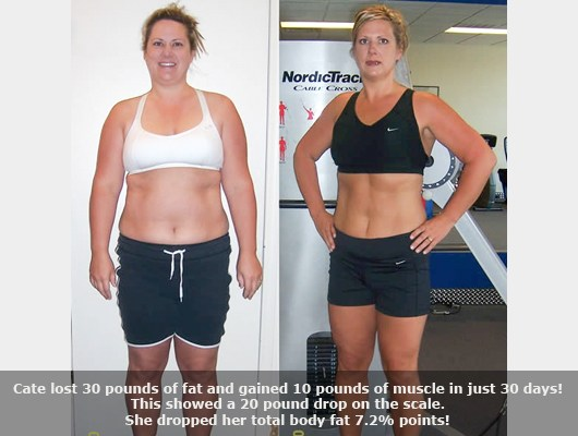 before and after front view photo of a female body transformation client who lost 30 pounds of fat and gained 10 pounds of muscle in 30 days